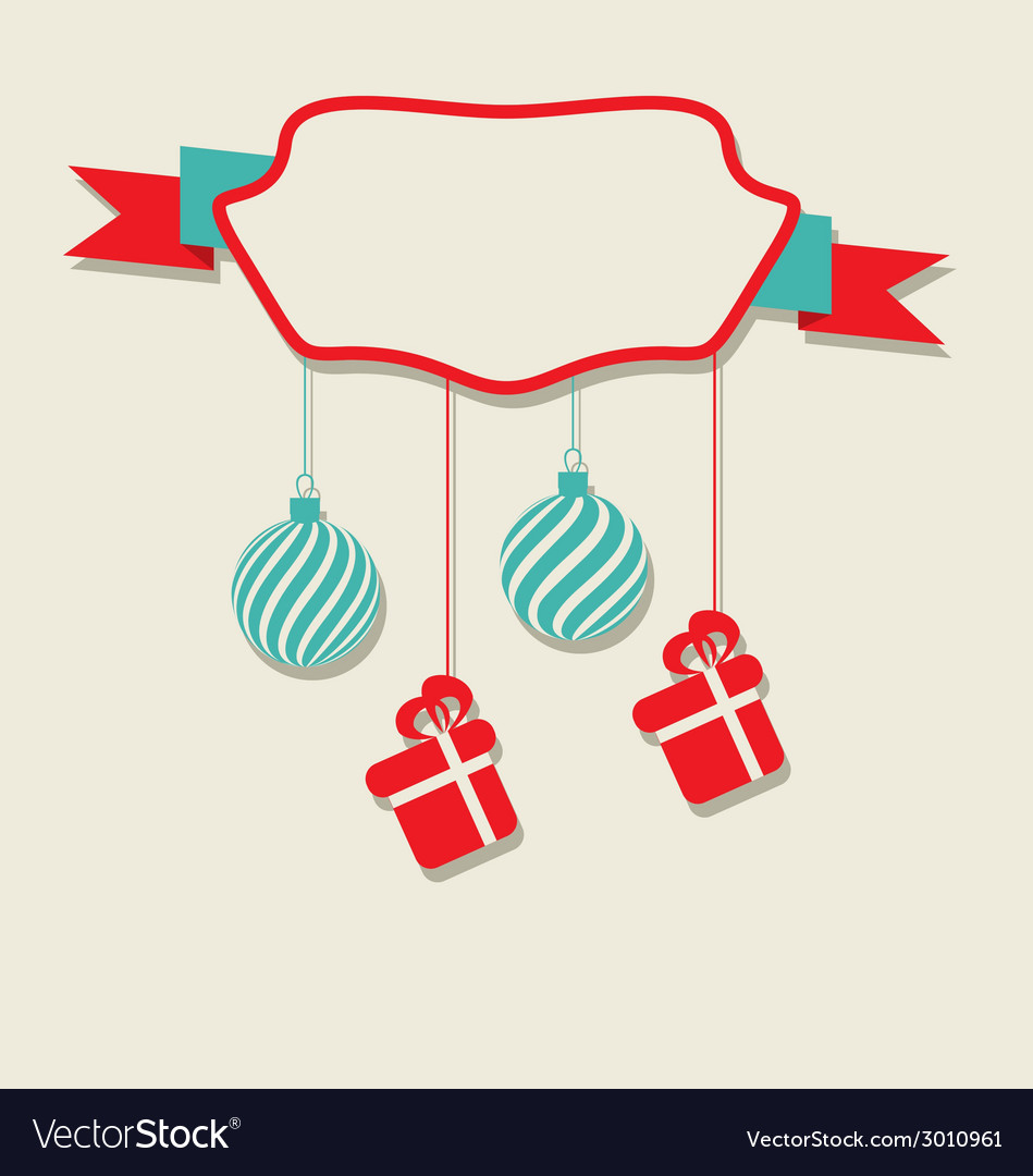 Christmas celebration card with hanging balls and vector | Price: 1 Credit (USD $1)