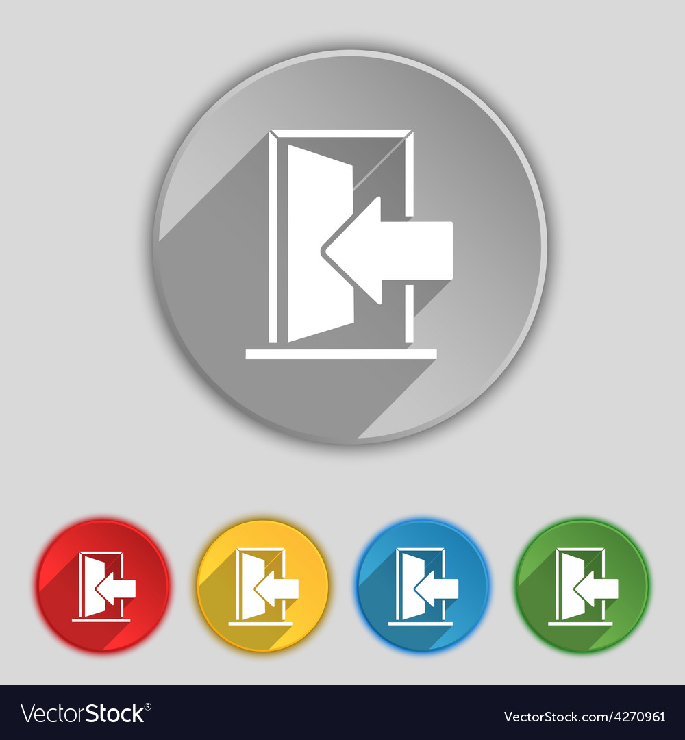 Door enter or exit icon sign symbol on five flat vector | Price: 1 Credit (USD $1)