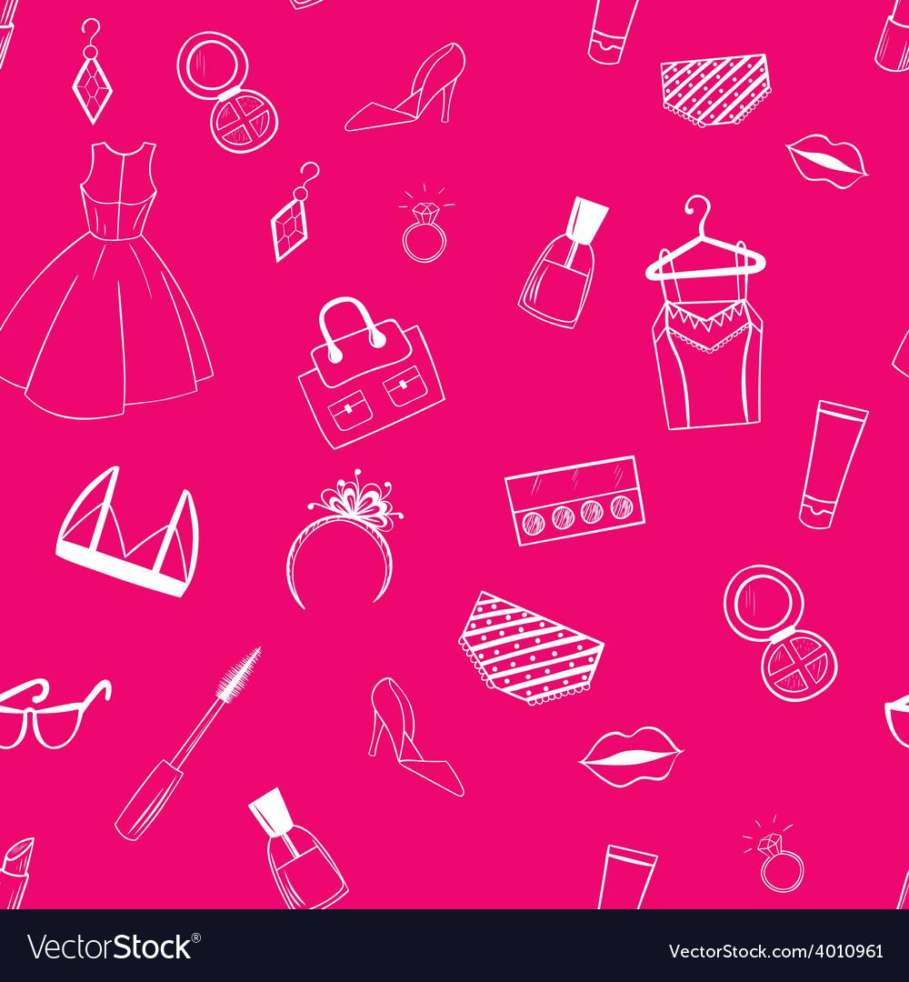 Fashion seamless pattern dress ear rings lipstick vector | Price: 1 Credit (USD $1)