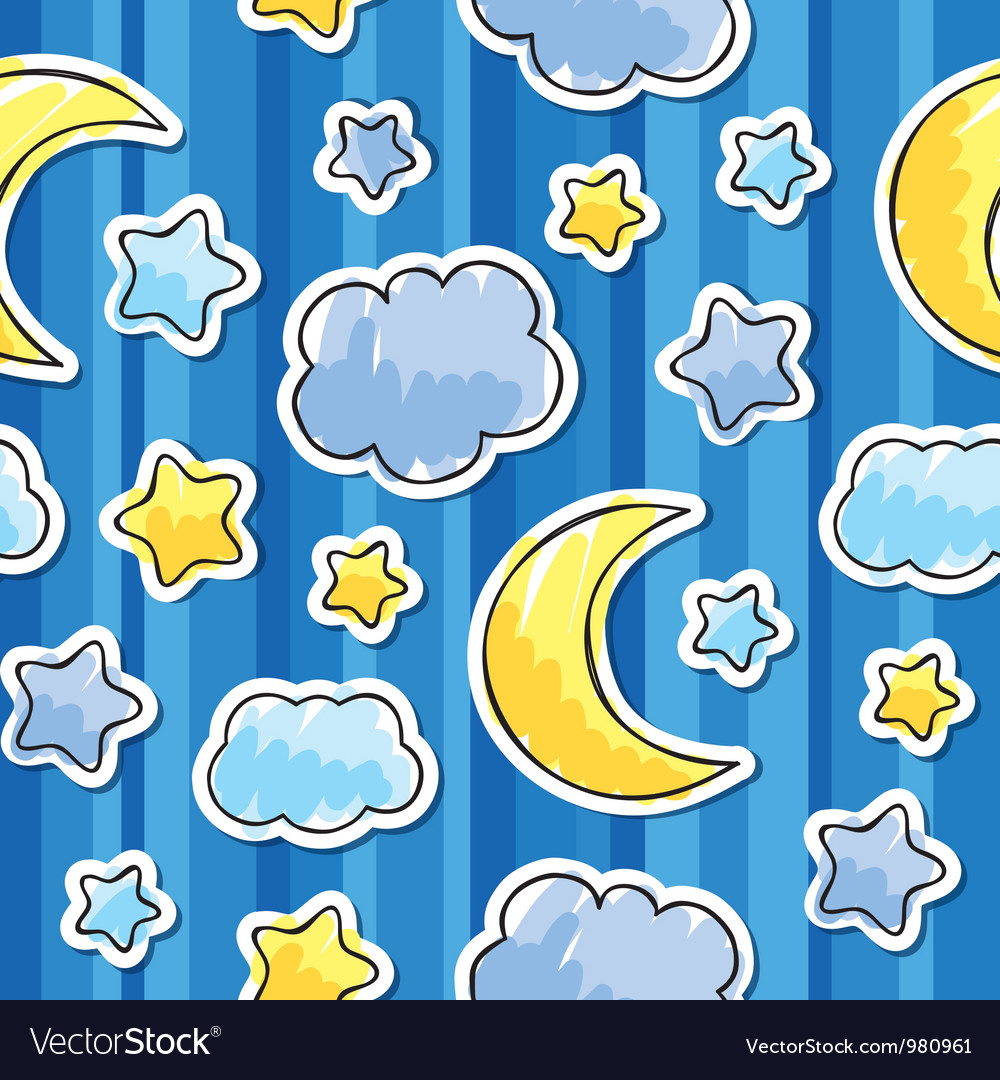 Pattern with night sky vector | Price: 1 Credit (USD $1)