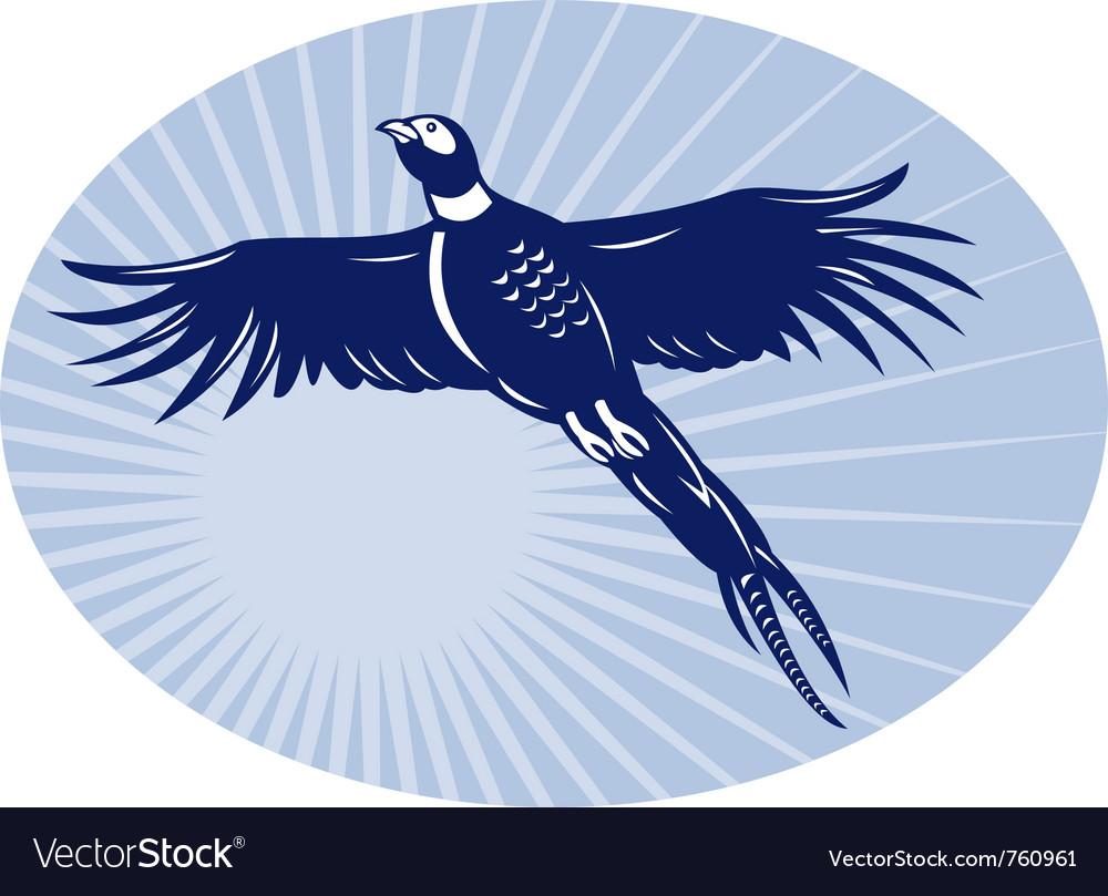 Pheasant bird flying retro vector | Price: 1 Credit (USD $1)