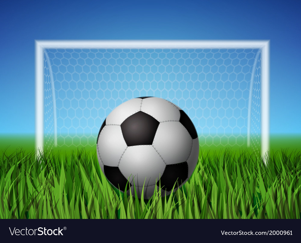 Soccer ball and grass field vector | Price: 1 Credit (USD $1)