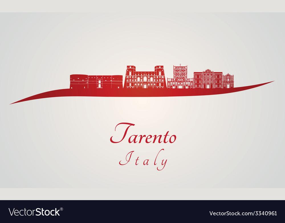 Tarento skyline in red vector | Price: 1 Credit (USD $1)