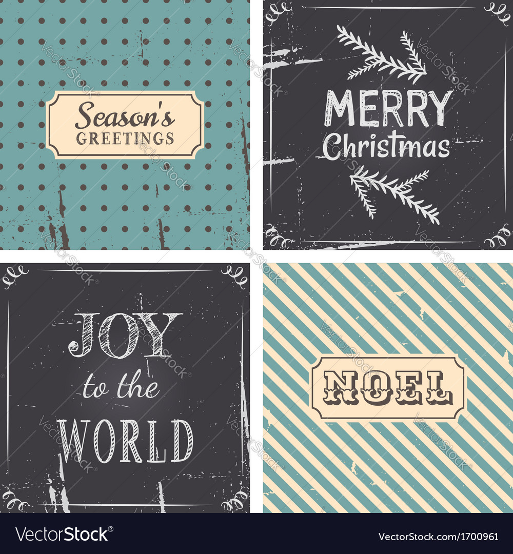 Vintage style christmas greeting cards collection vector | Price: 1 Credit (USD $1)