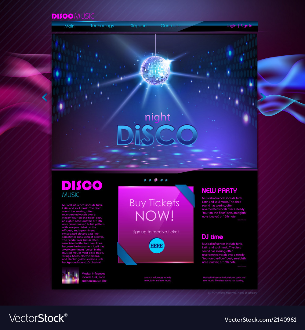 Web site template design disco background vector | Price: 1 Credit (USD $1)