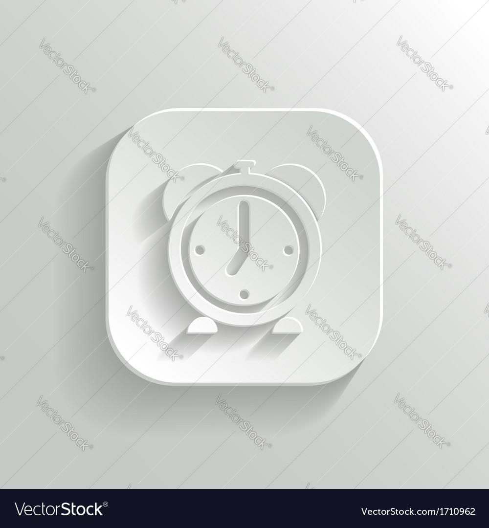 Alarm clock icon - white app button vector | Price: 1 Credit (USD $1)