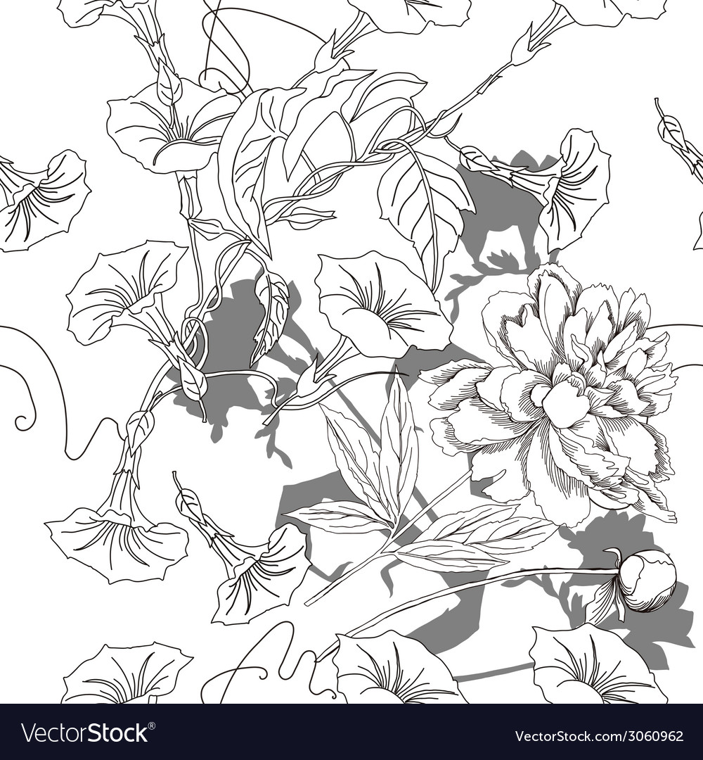 Black and white seamless pattern with flowers-04 vector | Price: 1 Credit (USD $1)