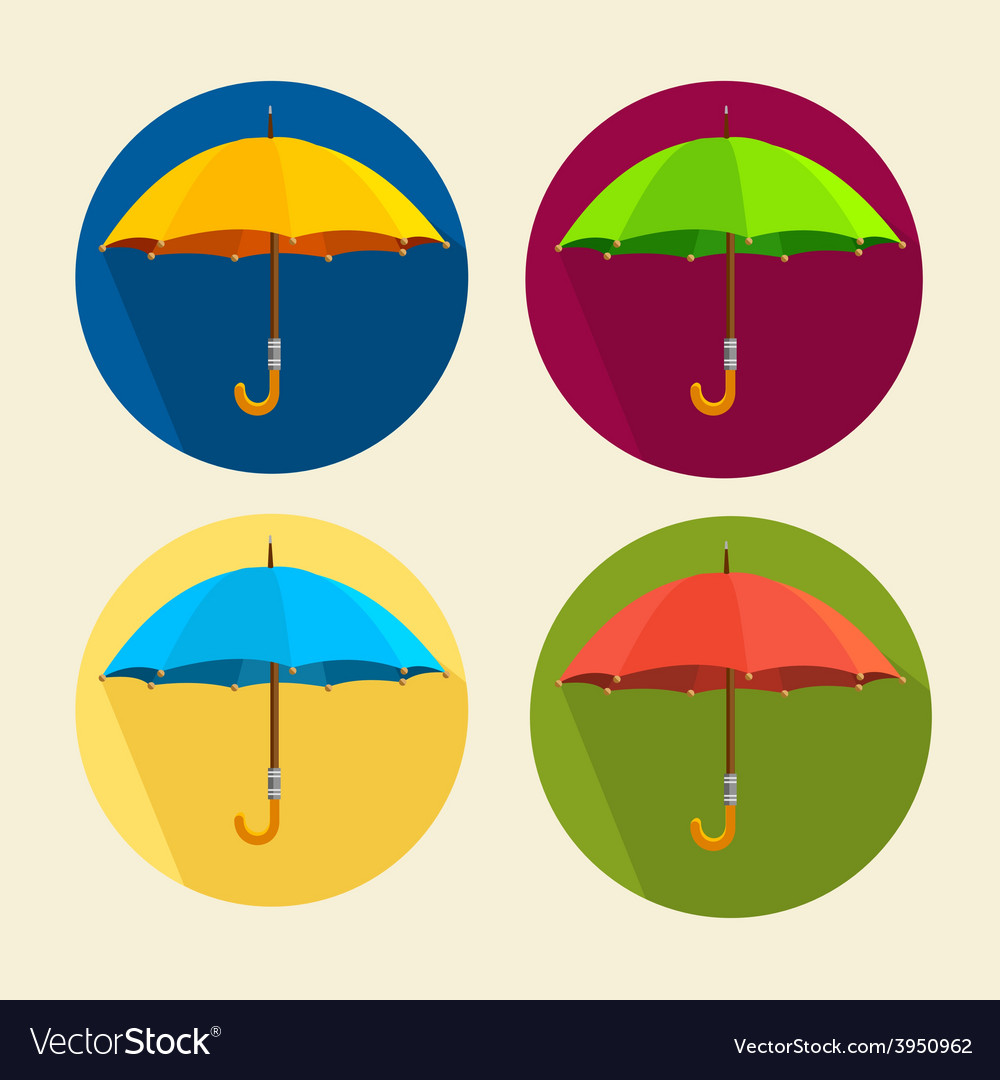 Colorful umbrellas set flat design vector | Price: 1 Credit (USD $1)