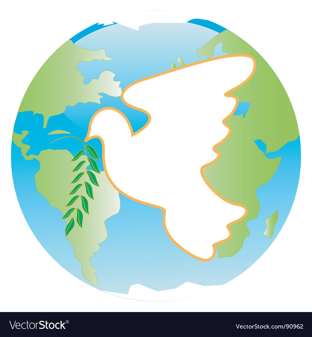 Dove on blue planet vector | Price: 1 Credit (USD $1)