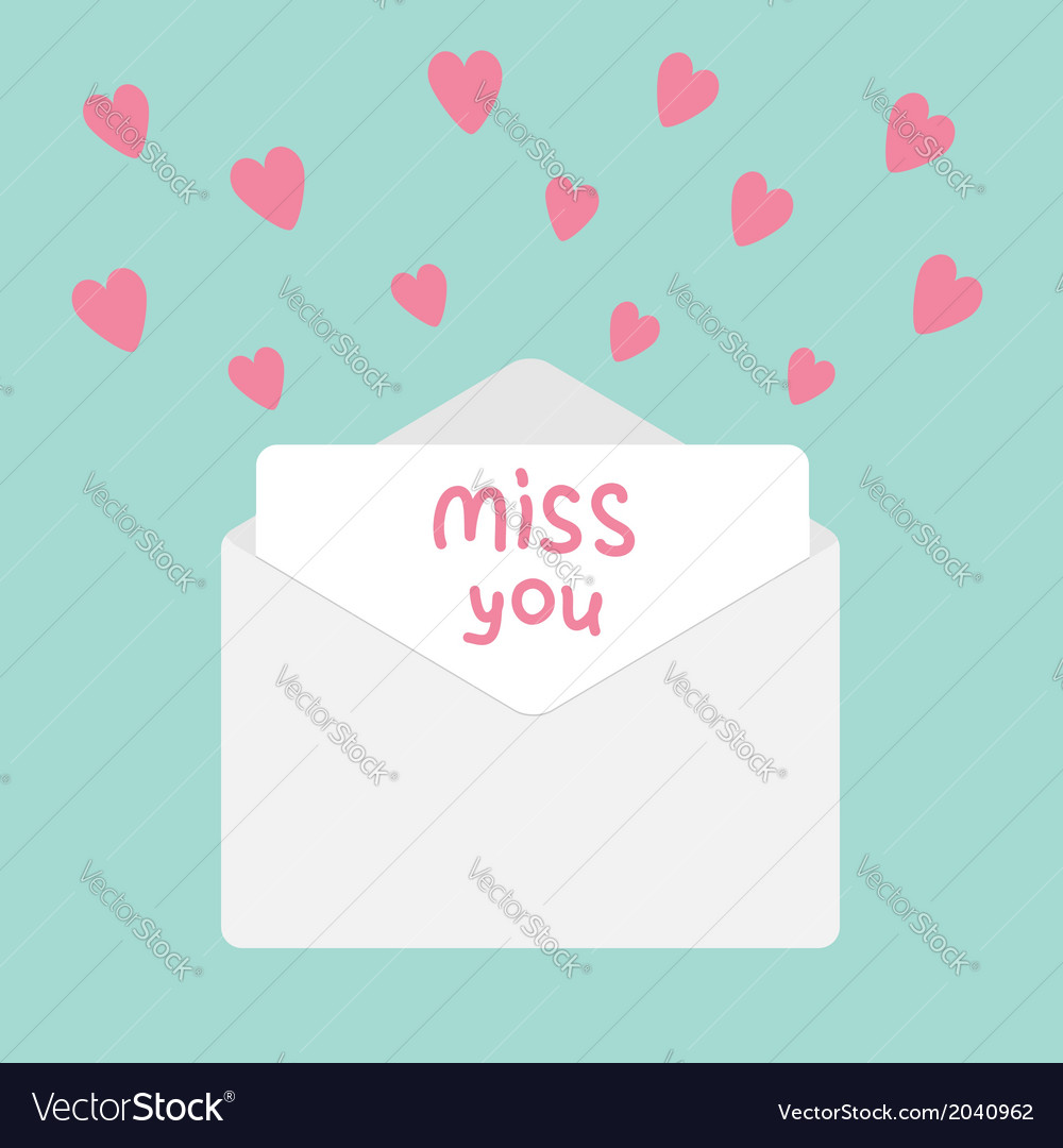 Envelope with hearts miss you card vector | Price: 1 Credit (USD $1)