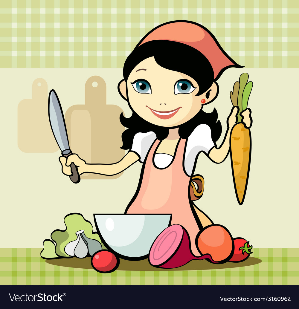 Girl prepares a meal vector | Price: 1 Credit (USD $1)