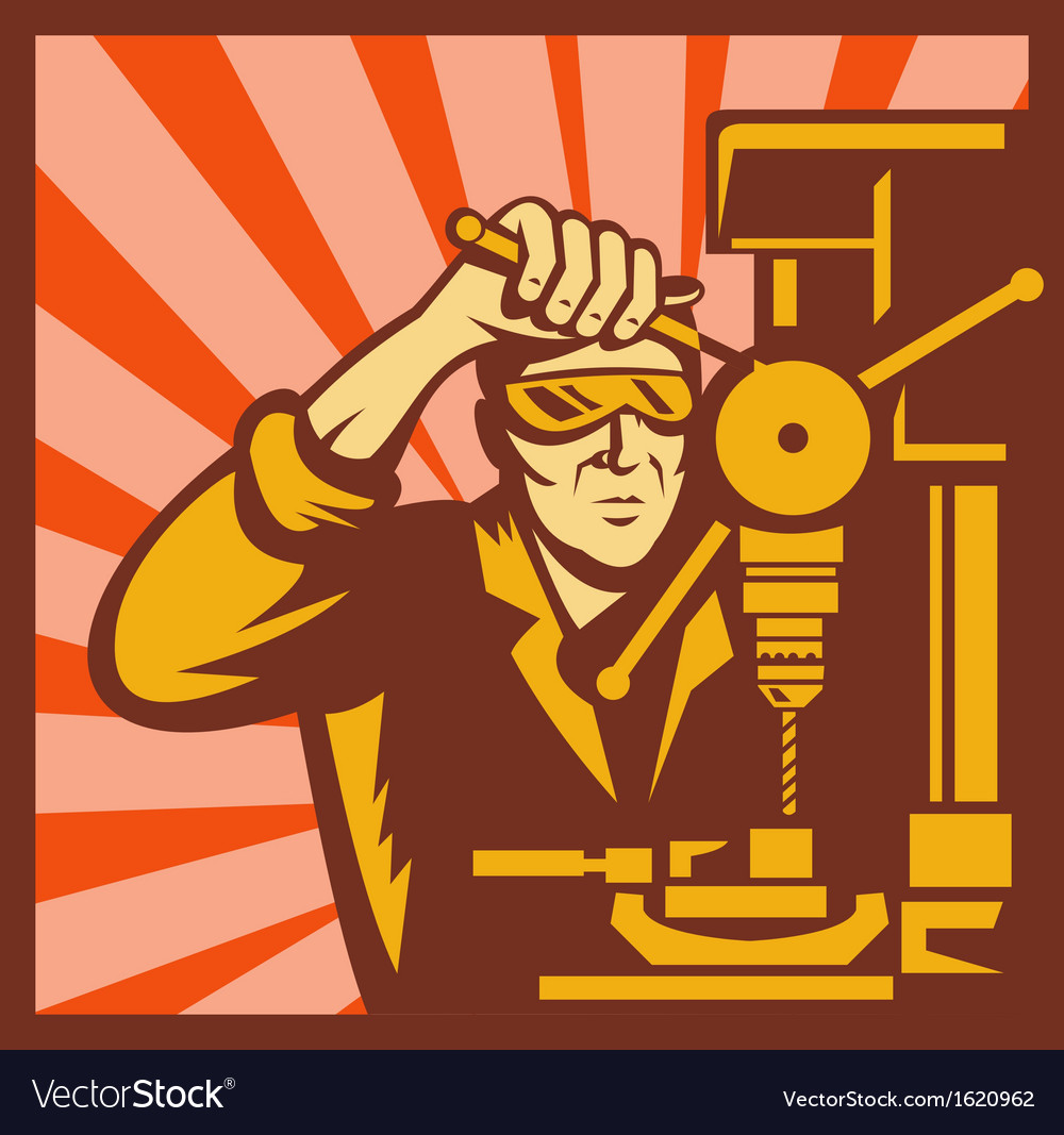 Male trade worker operating a bench drill vector | Price: 1 Credit (USD $1)