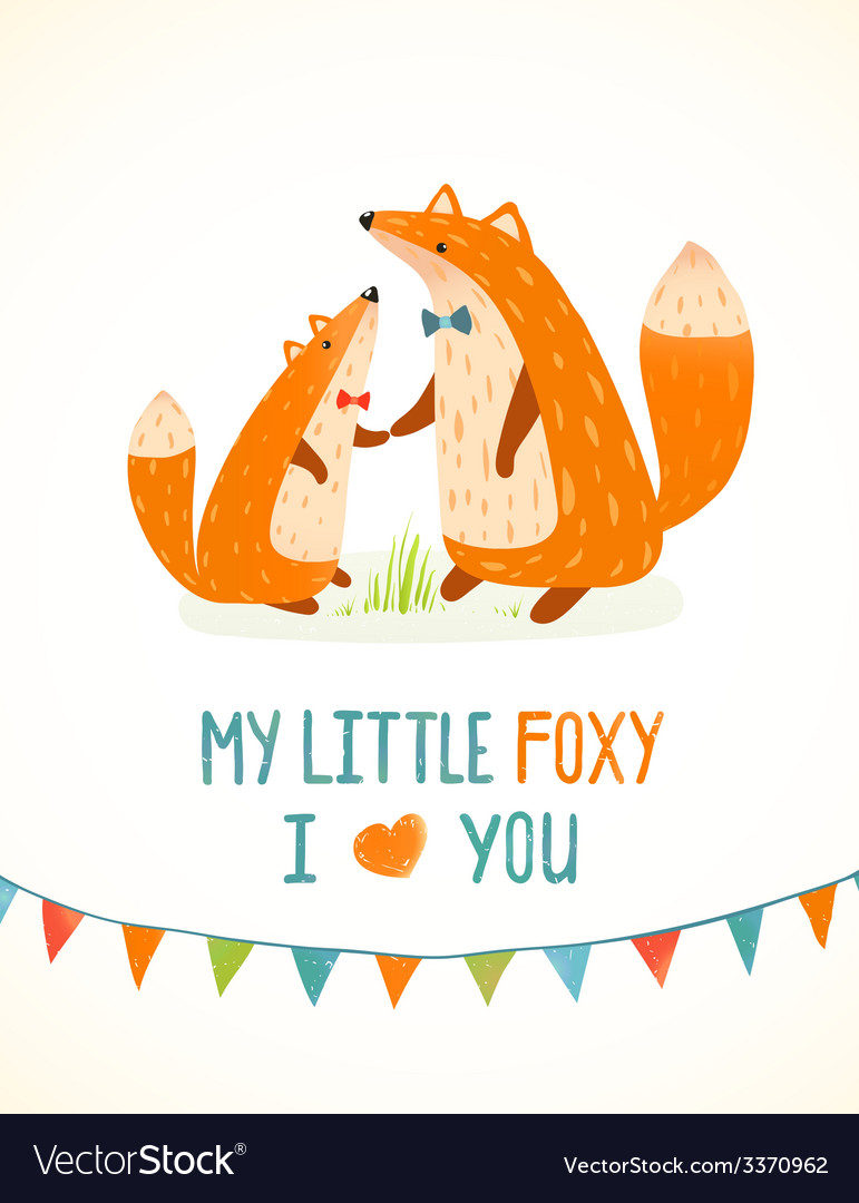 Mother or father fox and foxy child cartoon vector | Price: 1 Credit (USD $1)