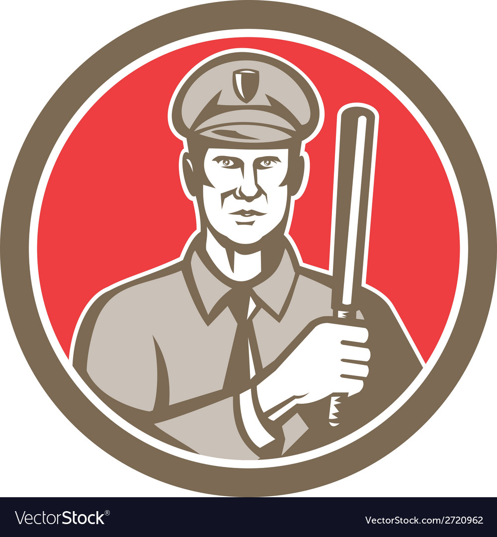 Policeman with night stick baton circle retro vector | Price: 1 Credit (USD $1)