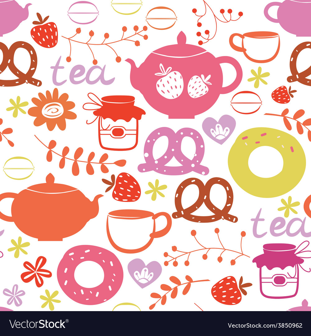 Tea with sweets seamless pattern vector | Price: 1 Credit (USD $1)