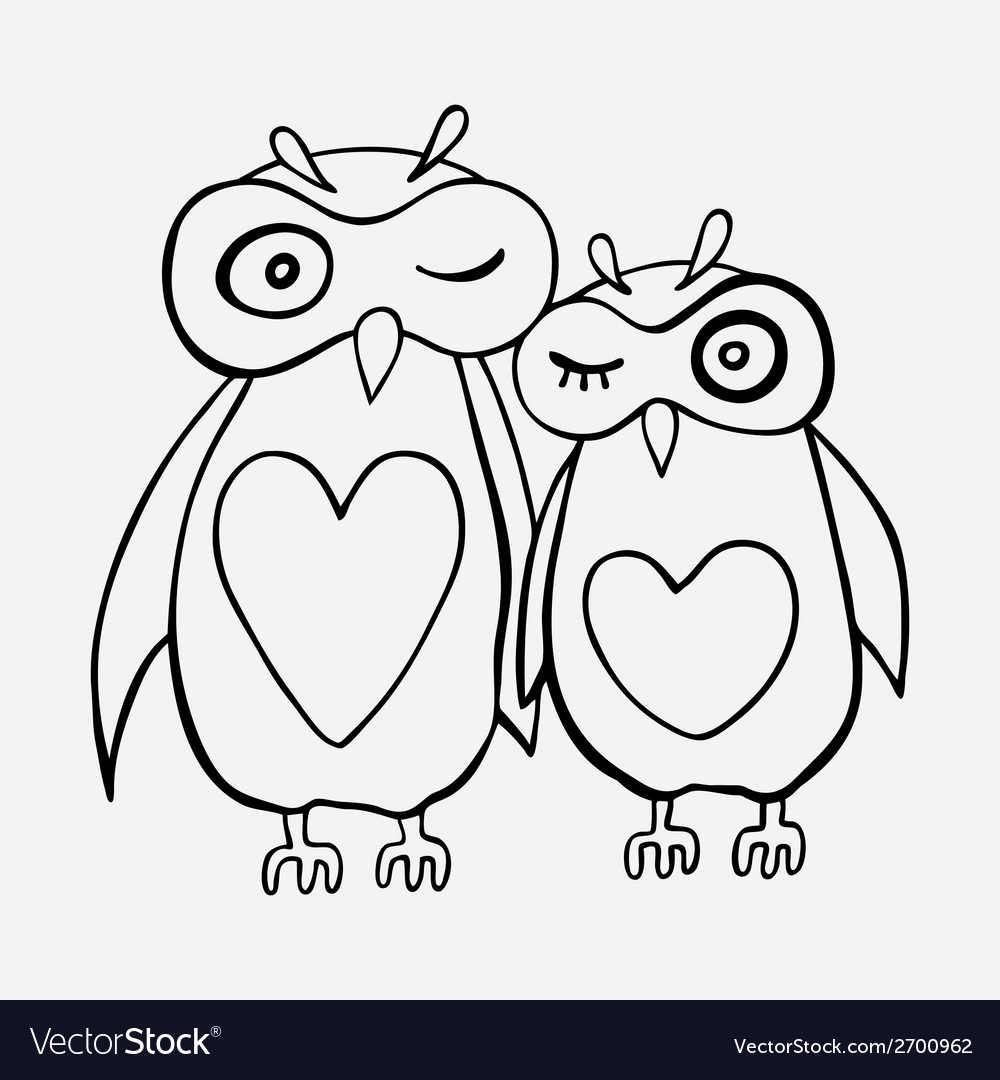 Two cute decorative owls vector | Price: 1 Credit (USD $1)