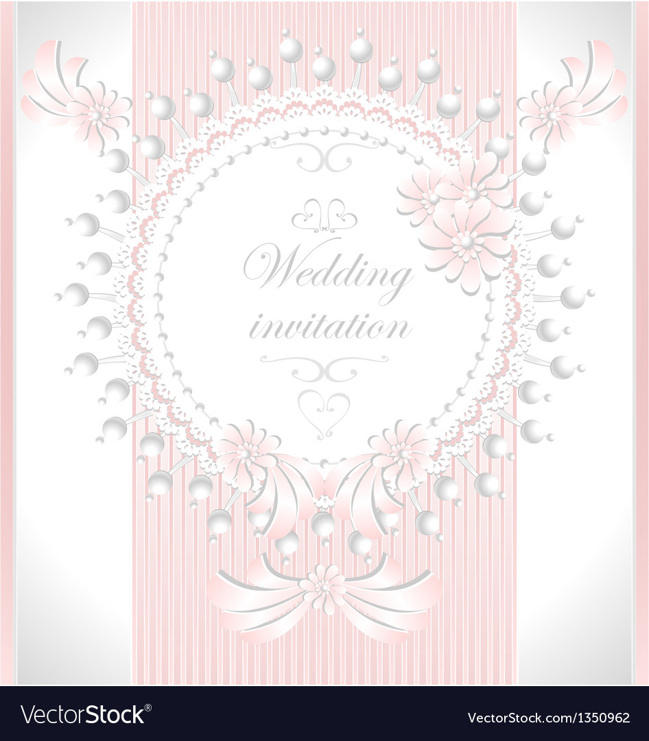 Wedding invitation with pearls flowers in pink co vector | Price: 3 Credit (USD $3)