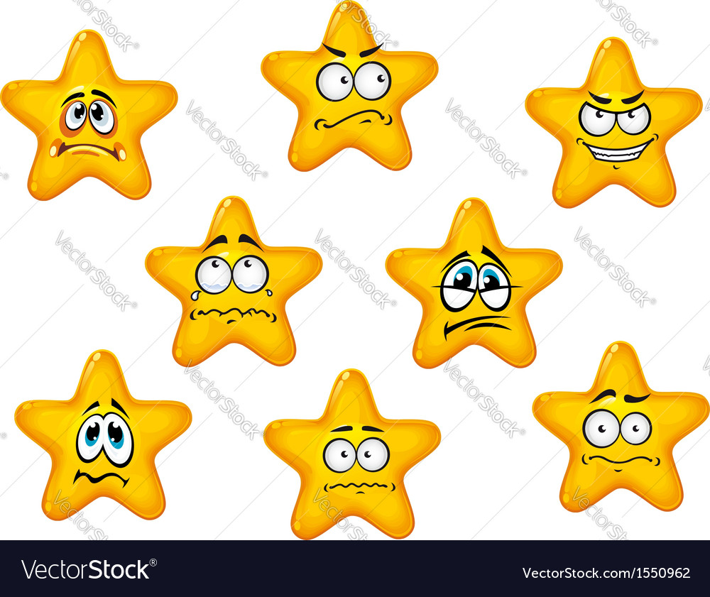 Yellow stars with negative emotions vector | Price: 1 Credit (USD $1)