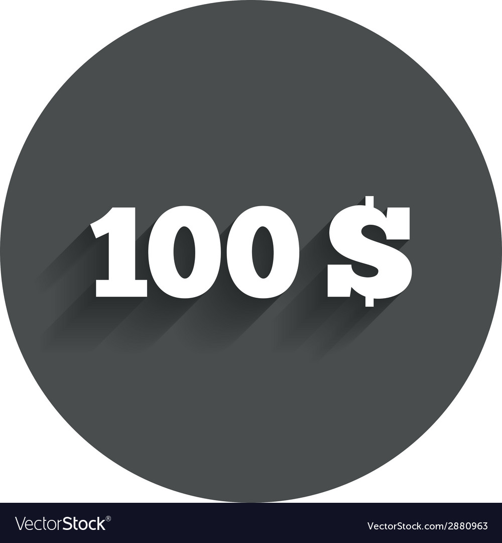 100 dollars sign icon usd currency symbol vector | Price: 1 Credit (USD $1)