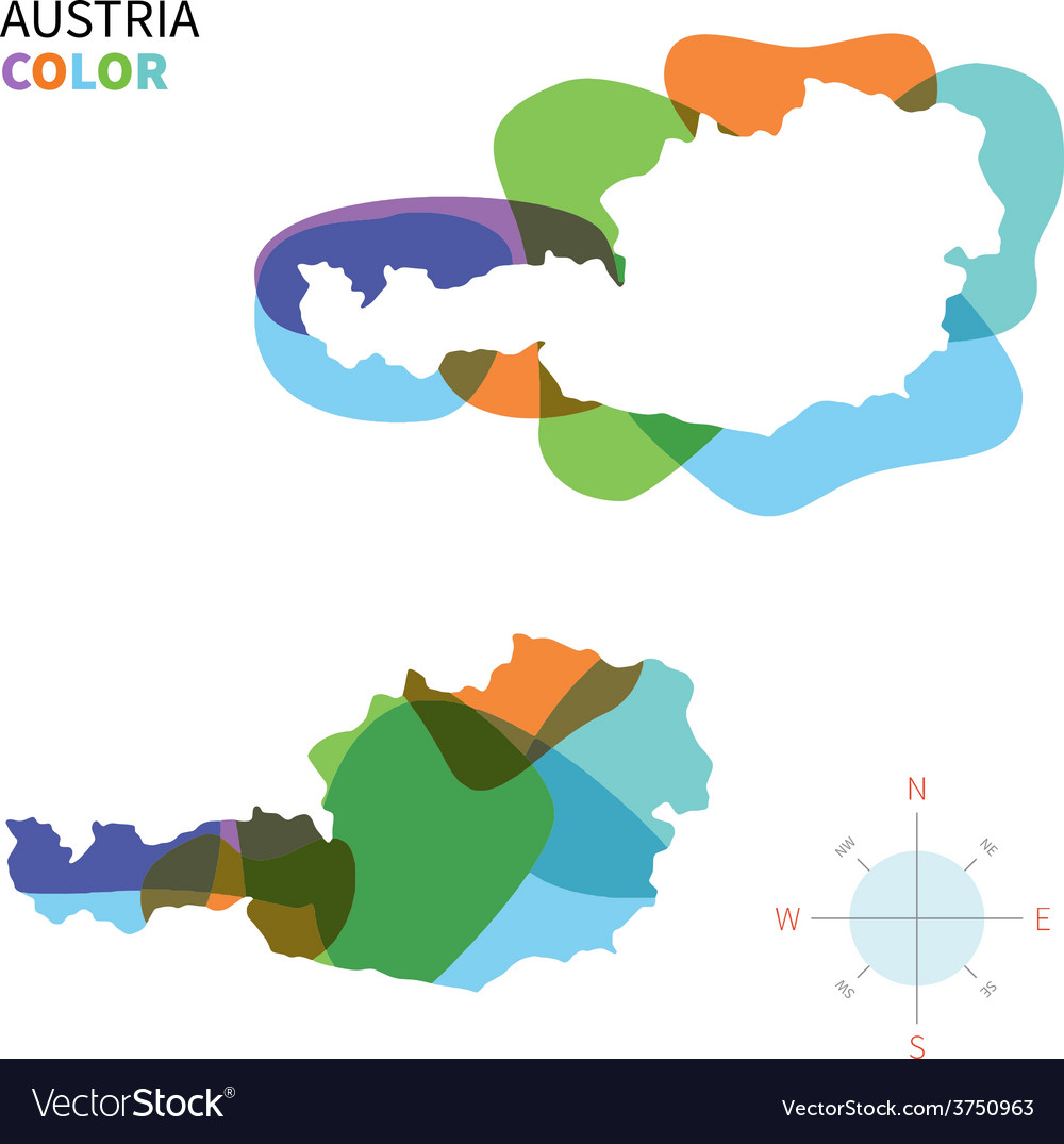 Abstract color map of austria vector | Price: 1 Credit (USD $1)