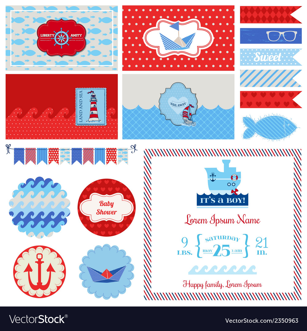 Baby shower nautical set - for party decoration vector | Price: 3 Credit (USD $3)