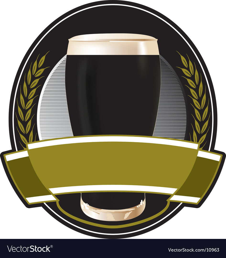 Black beer label vector