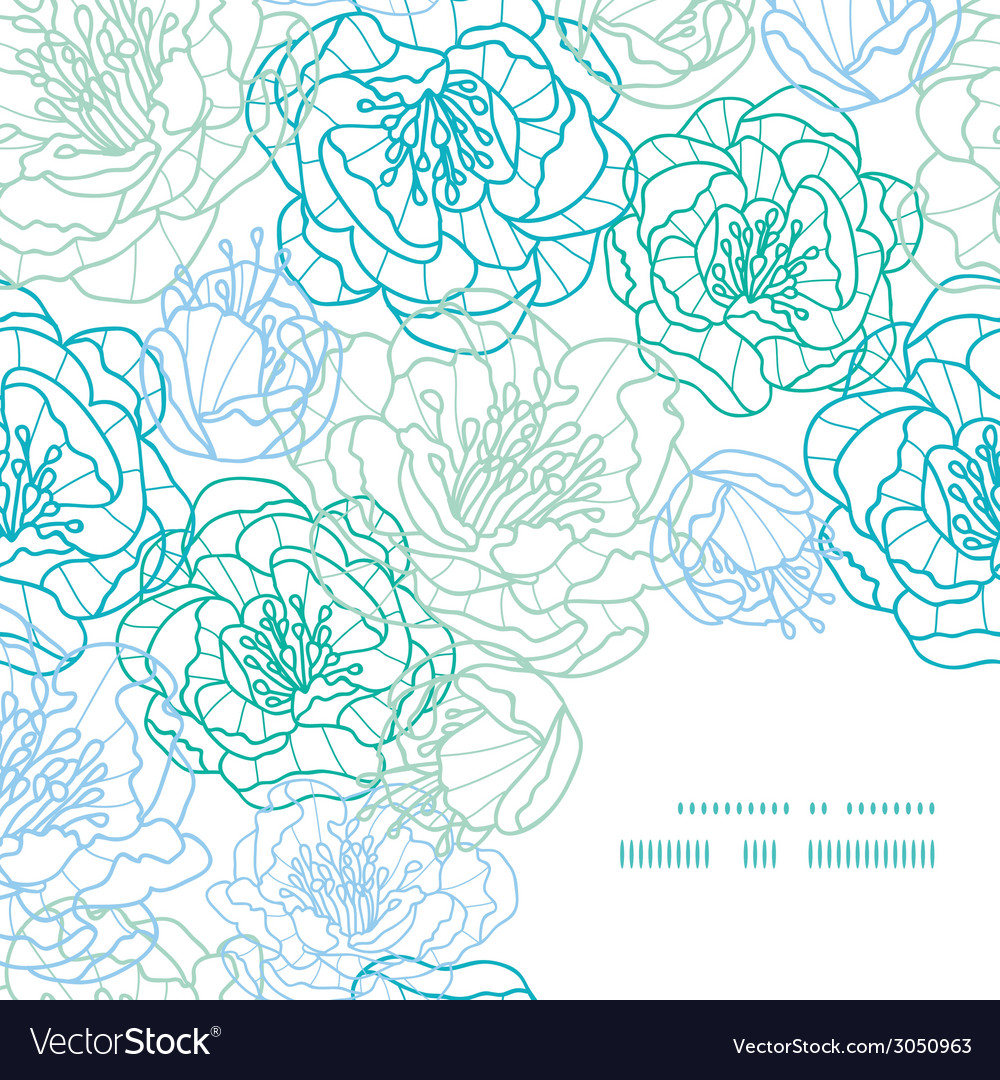 Blue line art flowers frame corner pattern vector | Price: 1 Credit (USD $1)