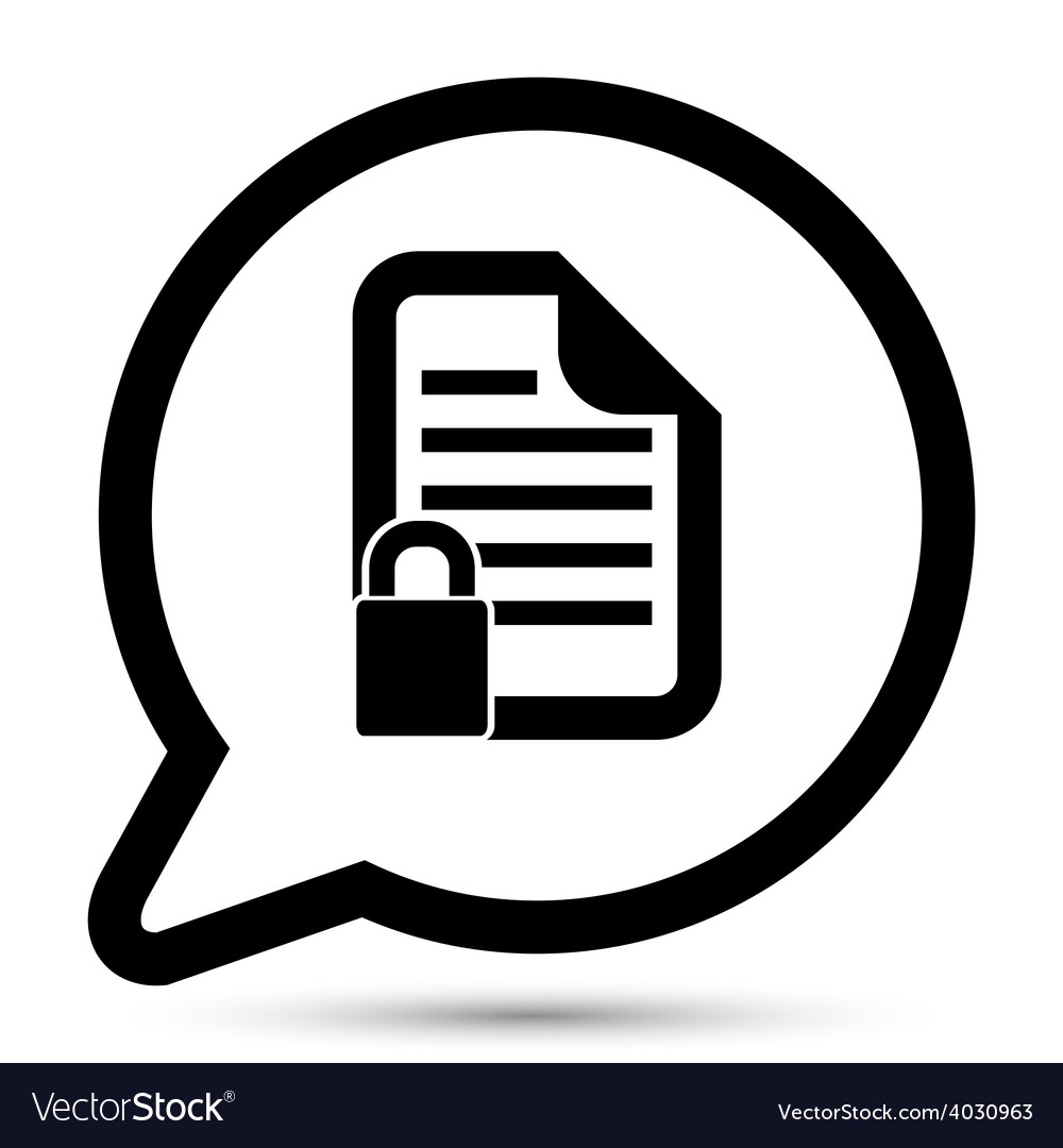Bubble with document lock icon vector | Price: 1 Credit (USD $1)