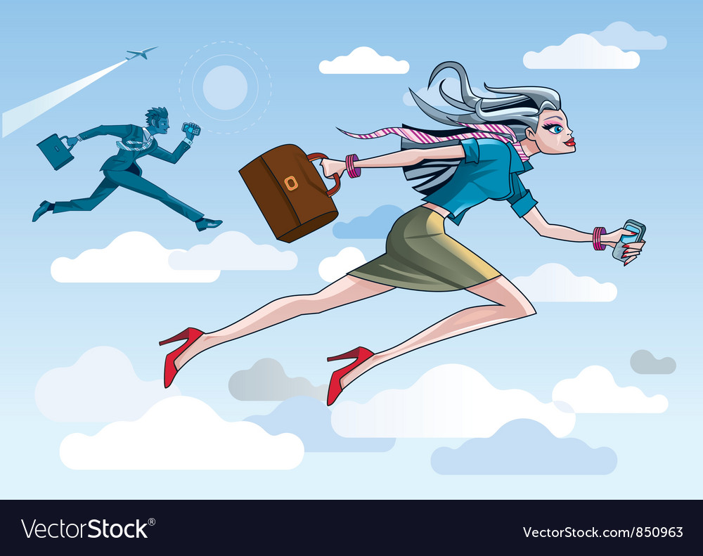 Businesswoman running through clouds vector | Price: 1 Credit (USD $1)