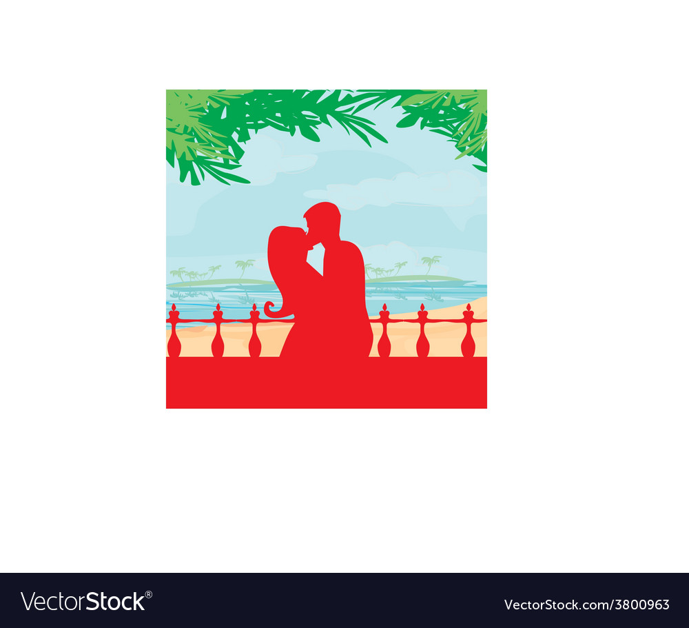 Couple kissing on a beach vector | Price: 1 Credit (USD $1)