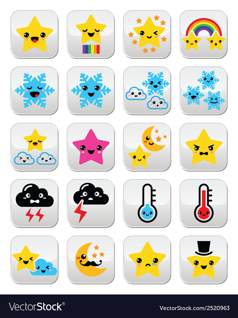 Cute weather kawaii buttons star rainbow moon vector | Price: 1 Credit (USD $1)