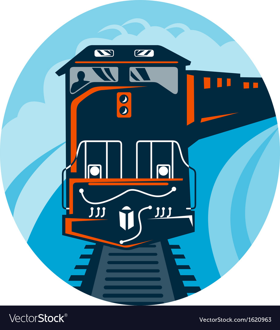 Diesel train traveling on tracks vector | Price: 1 Credit (USD $1)