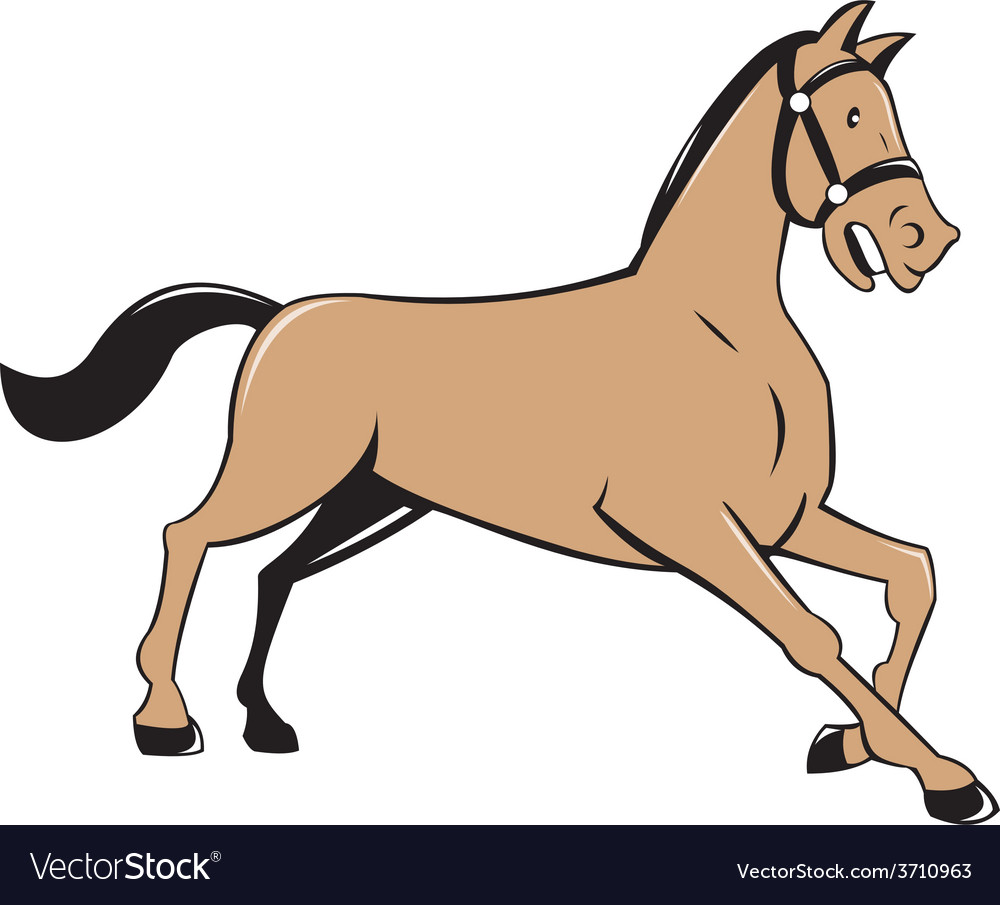 Horse kneeling down cartoon vector | Price: 1 Credit (USD $1)
