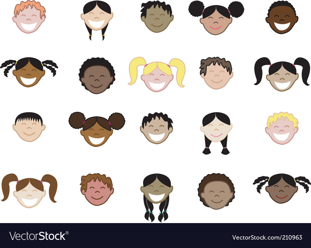 Kids face icons vector | Price: 1 Credit (USD $1)