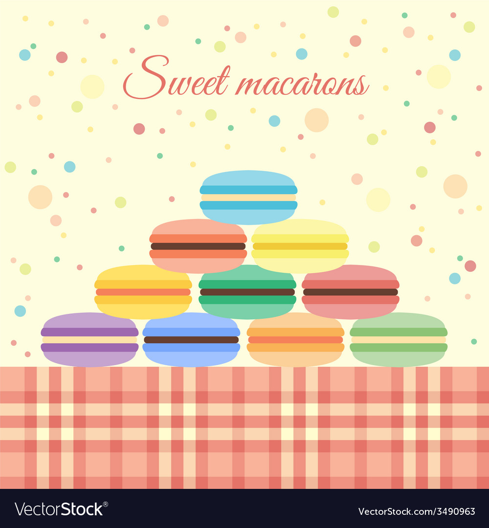 Macarons on the table vector | Price: 1 Credit (USD $1)