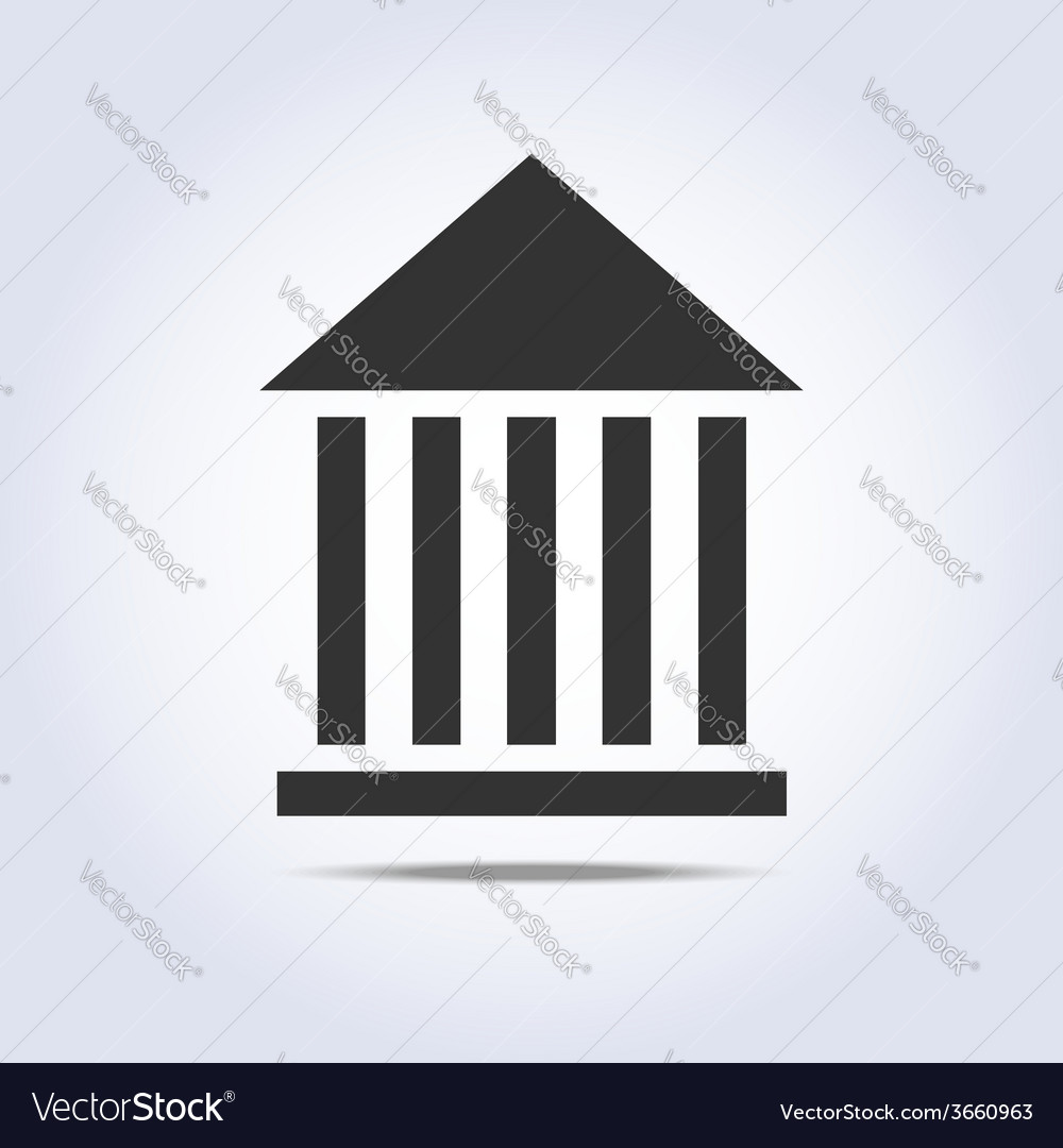 Museum flat simple icon gray color vector | Price: 1 Credit (USD $1)