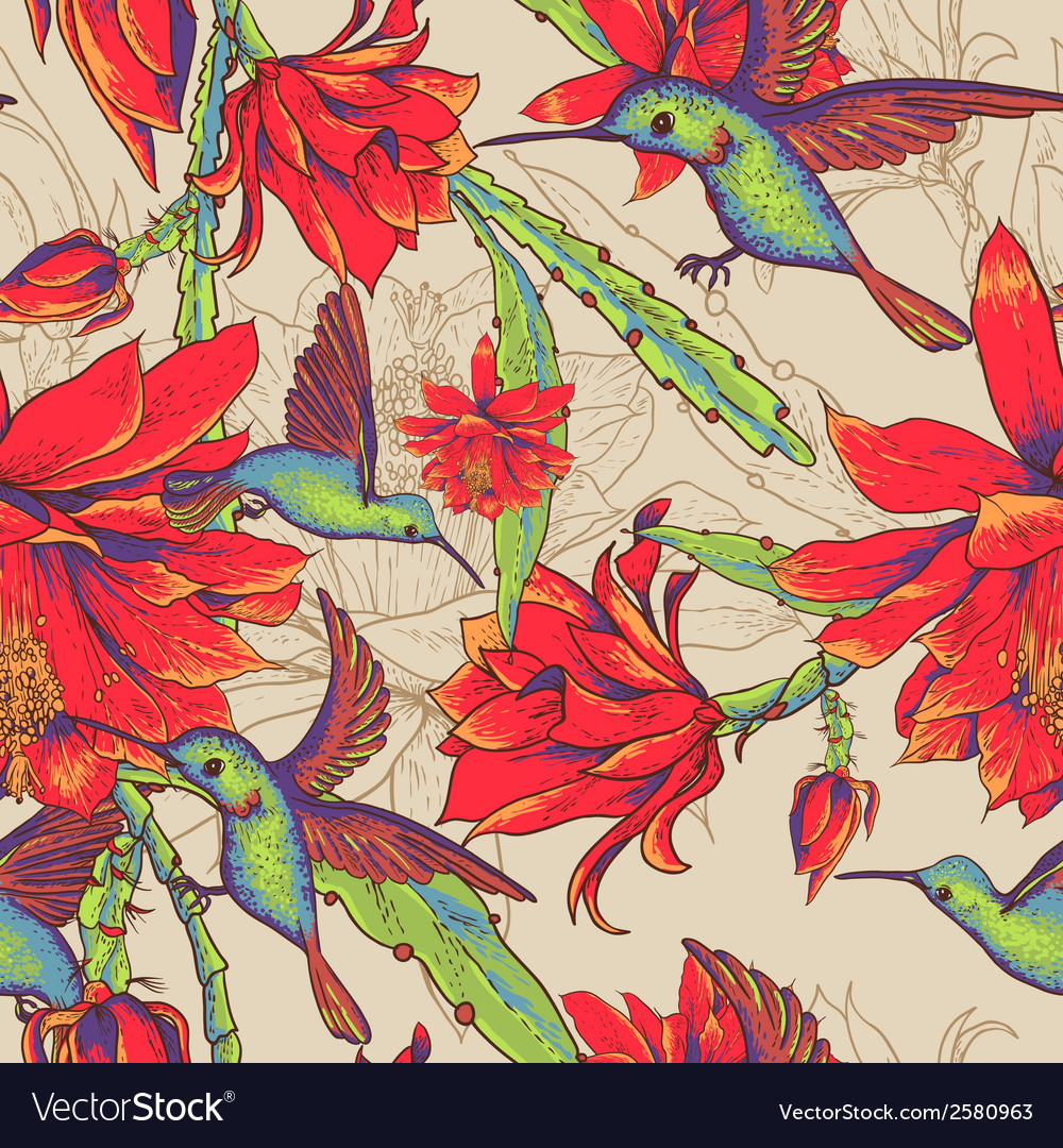 Seamless background flowers and hummingbirds vector