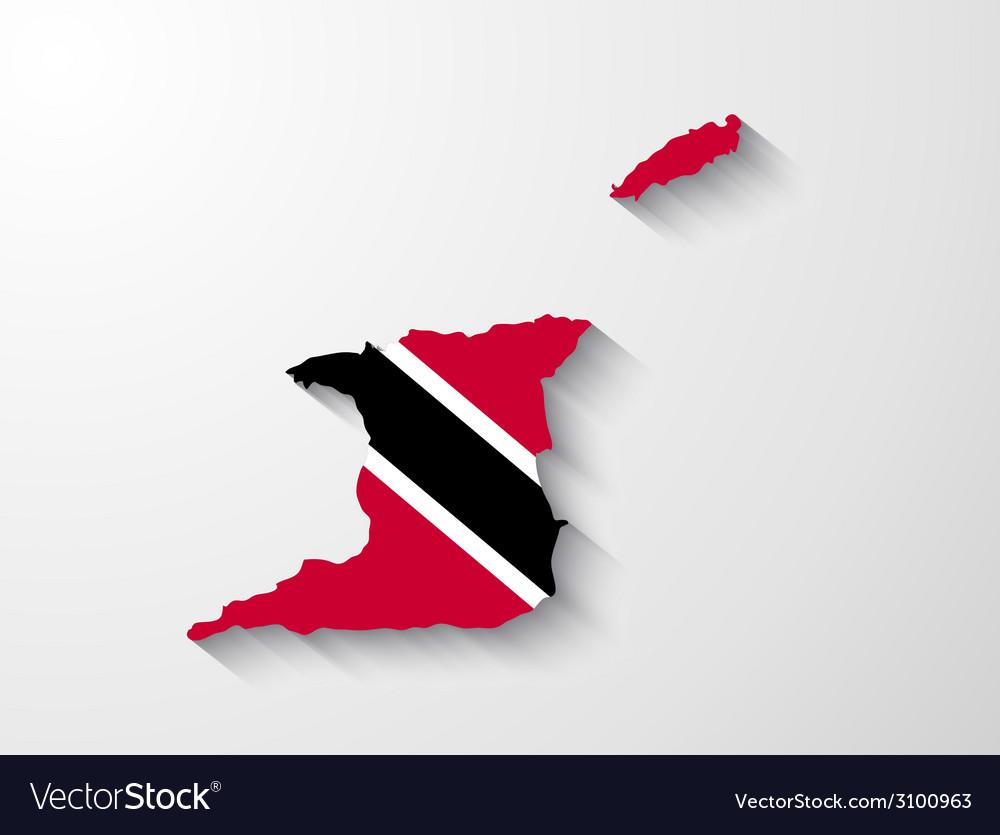 Trinidad and tobago map with shadow effect vector | Price: 1 Credit (USD $1)