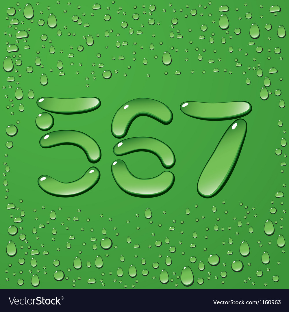 Water drop letters on green background 11 vector | Price: 1 Credit (USD $1)
