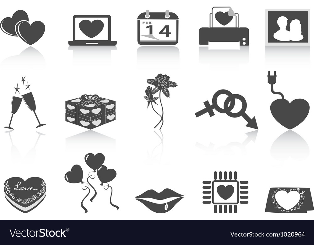 Black valentines day icons vector | Price: 1 Credit (USD $1)