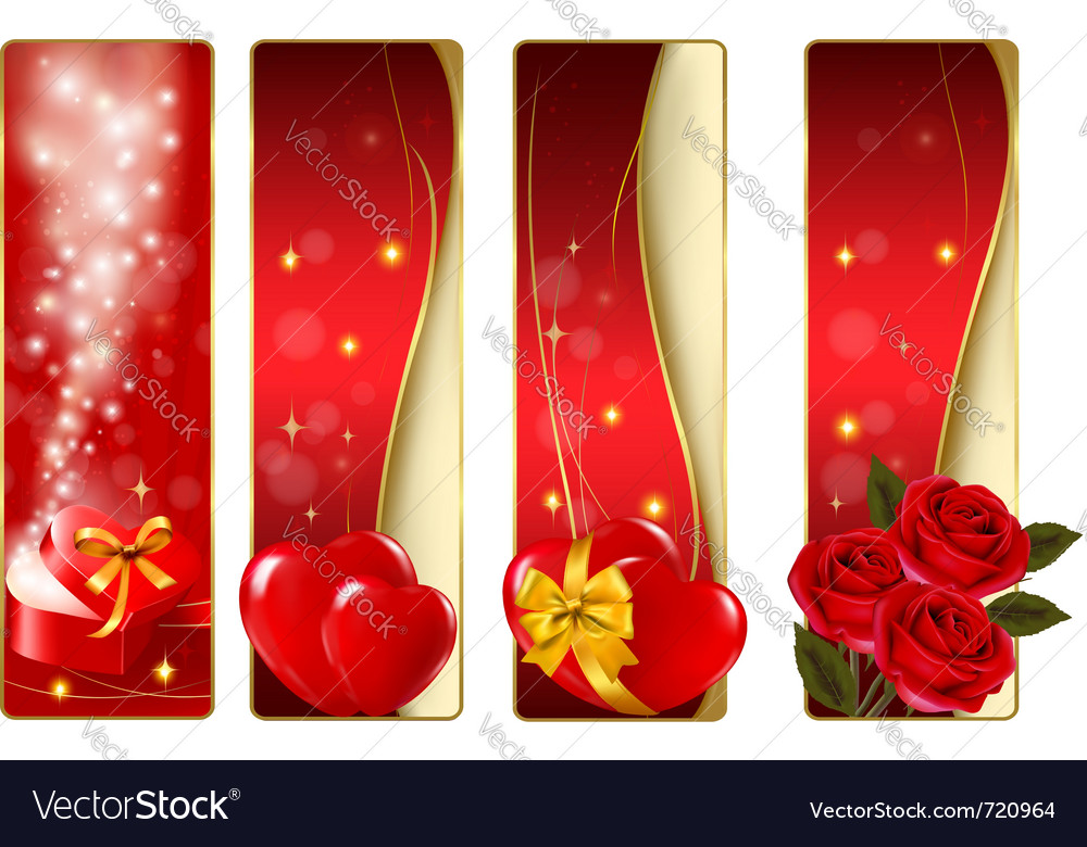 Collection of colorful of valentine banners vector | Price: 3 Credit (USD $3)