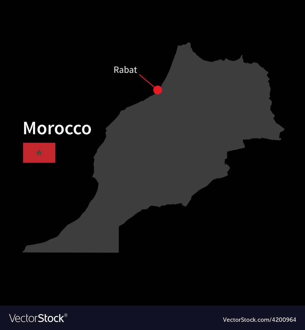Detailed map of morocco and capital city rabat vector | Price: 1 Credit (USD $1)