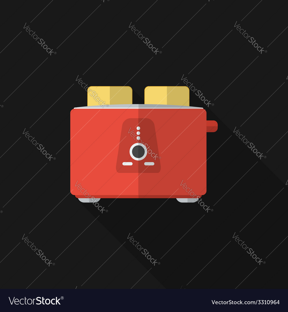 Flat toaster with long shadow icon vector | Price: 1 Credit (USD $1)