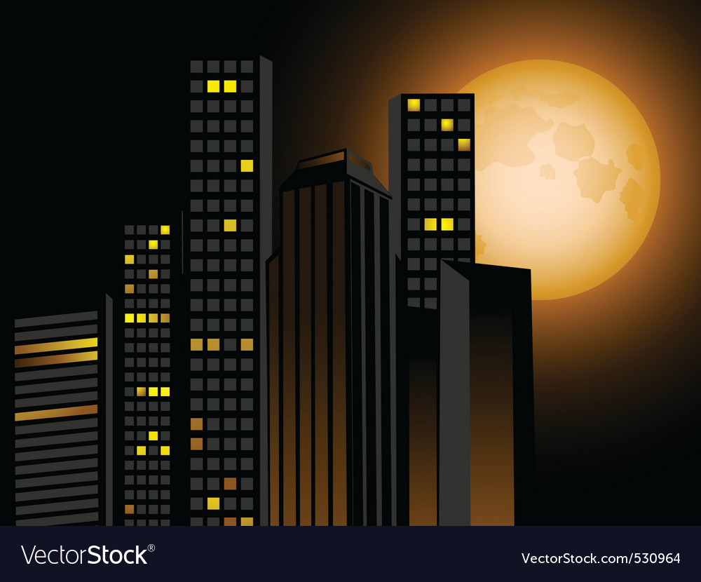 Full moon and city scape with sky scrapers offices vector | Price: 1 Credit (USD $1)