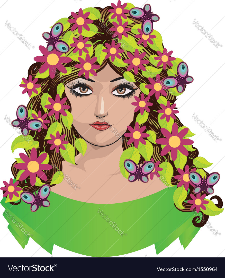 Girl with flowers and butterflies vector | Price: 1 Credit (USD $1)