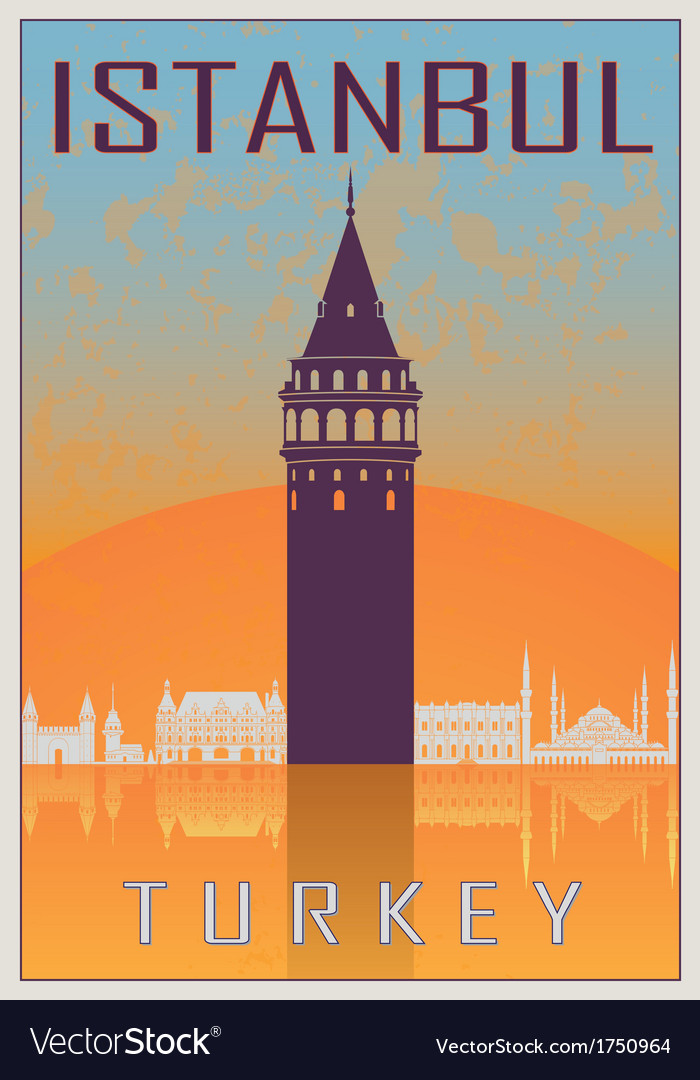 Istanbul vintage poster vector | Price: 1 Credit (USD $1)