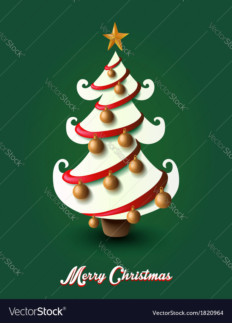 Merry christmas pine tree greting card eps10 file vector | Price: 1 Credit (USD $1)
