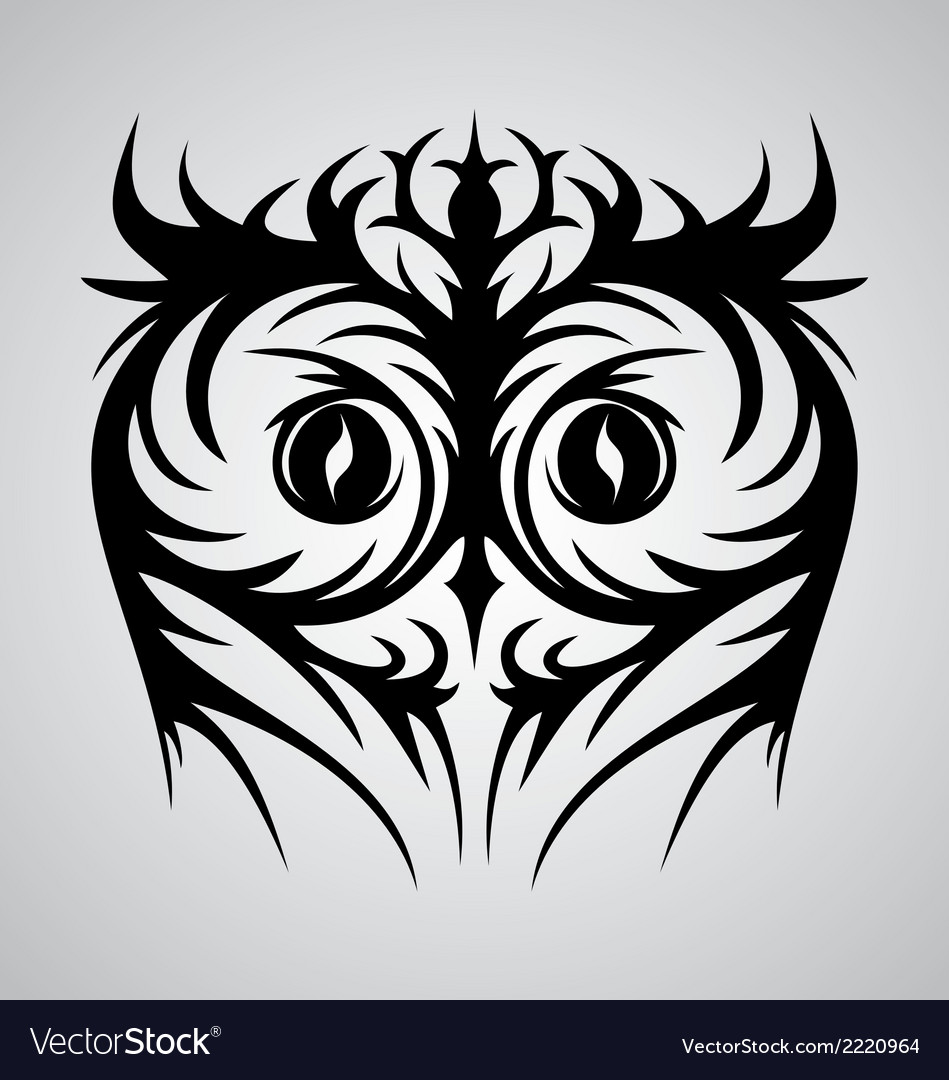 Owl face tribal vector | Price: 1 Credit (USD $1)