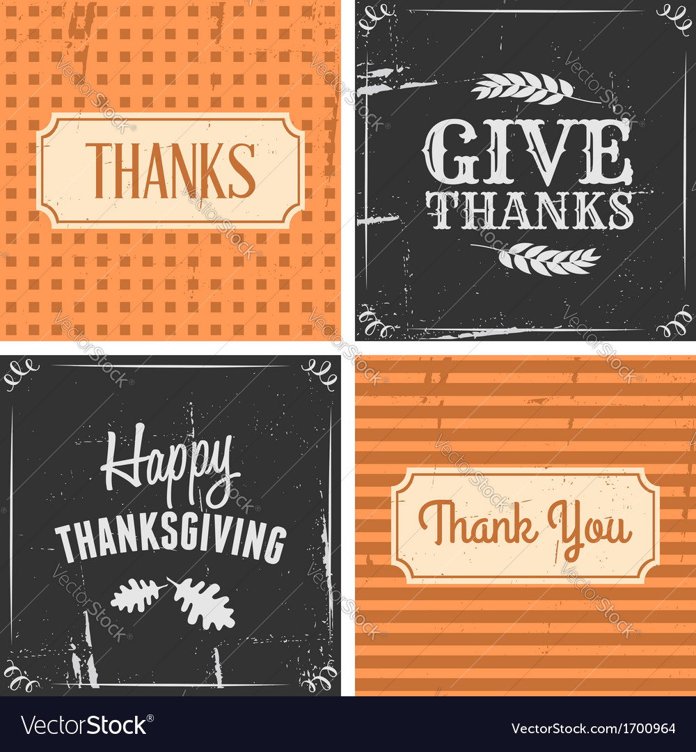 Retro style thanksgiving greeting cards set vector | Price: 1 Credit (USD $1)