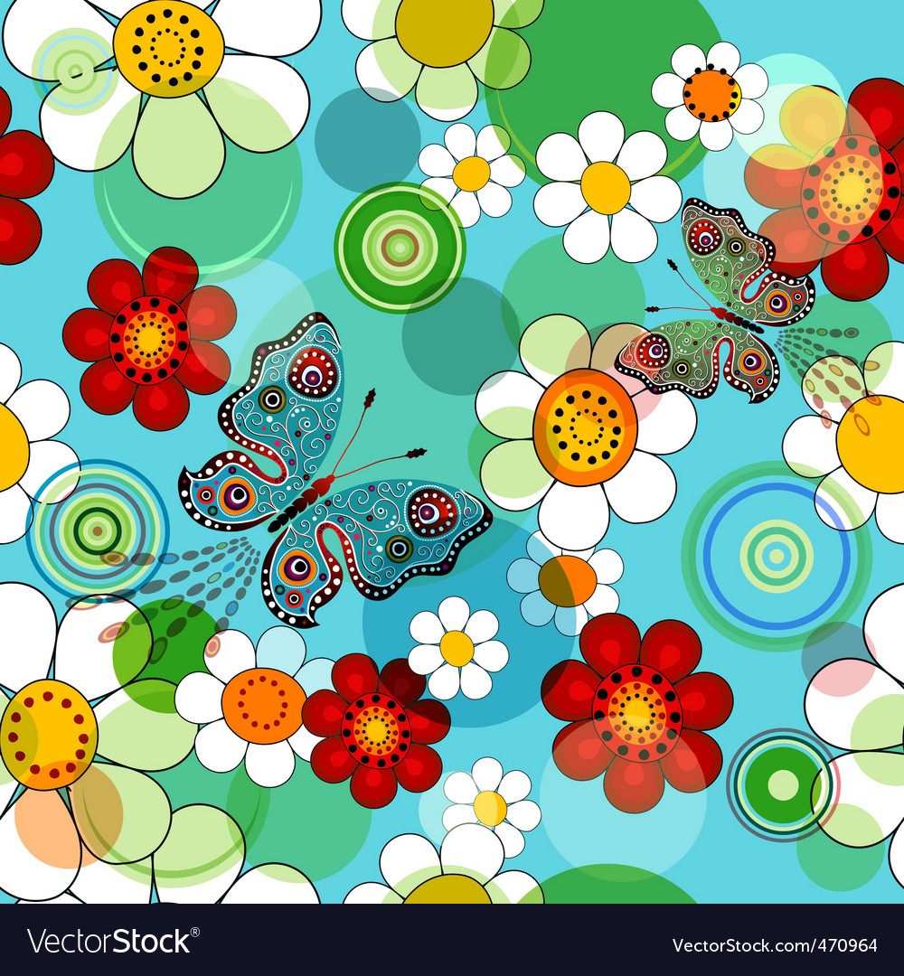 Vivid blue floral seamless pattern vector | Price: 1 Credit (USD $1)